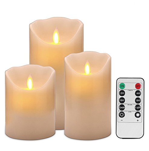 RoomClip商品情報 - Destyle 本物の炎のように揺れる! LED キャンドルライト 3個セット タイマー機能 リモコン付き 本物の蝋を使用 LEDキャンドル (S・M・L 3個セット)