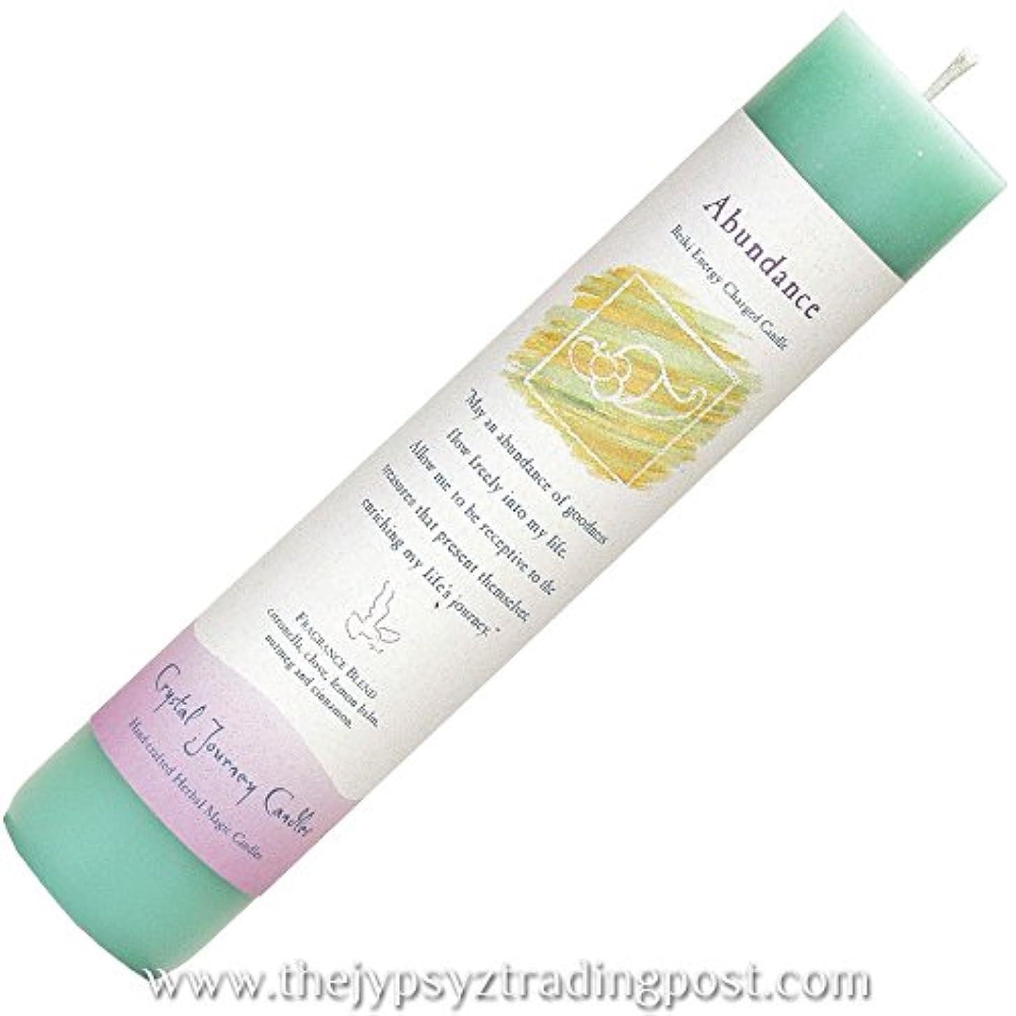 陪審高さ横たわるCrystal Journey Reiki Charged Herbal Magic Pillar Candle - Abundance - Made with Aromatherapy Essential Oils Clove...
