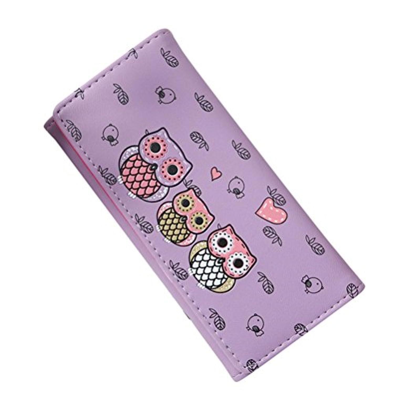 chainseeシンプルレトロフクロウ印刷財布レザークラッチコイン財布カードホルダーBillfoldの女性ガールズ 18cm*9cm*2cm P01