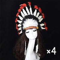 4個感謝祭 ヘッドバンド デコレーション ターバン フェザー 頭飾り かぶと インド人 帽子 コスプレ 小道具 チーフテン 野av人 少数,4