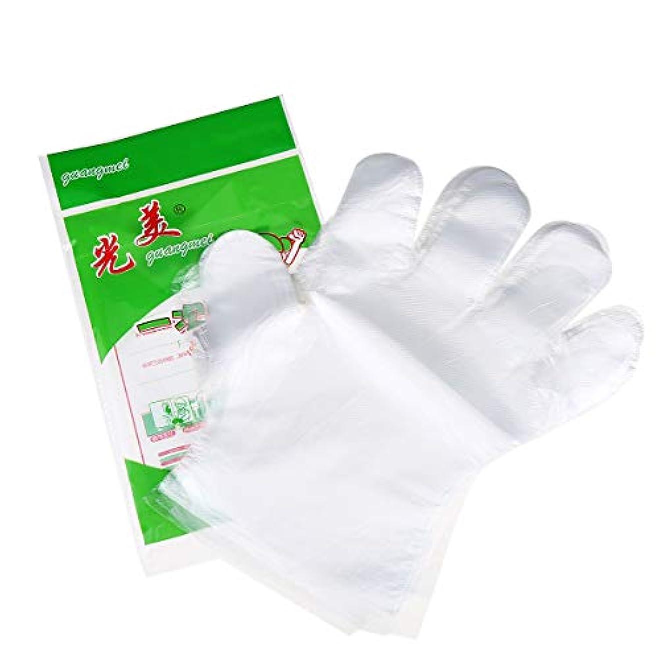 二度円形サラダ使い捨て手袋 極薄ビニール手袋 ポリエチレン 透明 実用 衛生 100枚セット極薄手袋 調理に?お掃除に?毛染めに