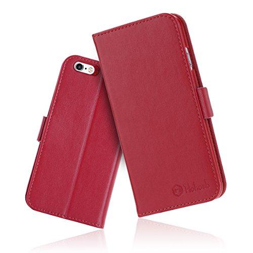 iPhone6s ケース 手帳型 iPhone6カバー 財布型 サイドマグネット式 カード収納 スタンド機能 高級PUレザー iPhone6ケース 耐衝撃 アイフォン6 手帳型ケース 全面保護 耐摩擦 人気 おしゃれ Hohosb(iPhone6s/6用, レッド)