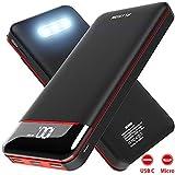モバイルバッテリー 25000mAh 大容量 急速充電 3個LEDランプ搭載 LEDスクリーン残量表示 PSE認証済 2USB入力ポート(2.4A+2.4A) 3USB出..