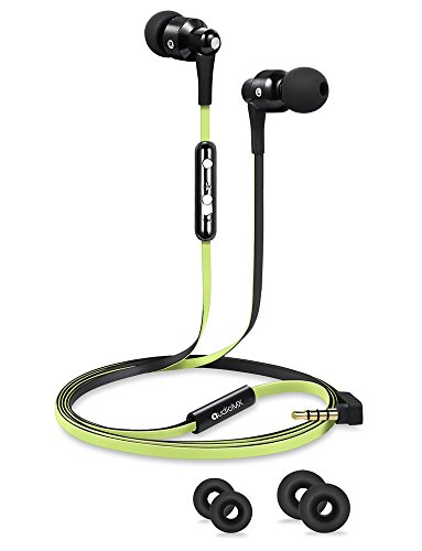 AudioMX カナル型イヤホン 密閉型インナーイヤ ステレオイヤフォン マイク付き 音量調節 ミントグリーン EM-11G