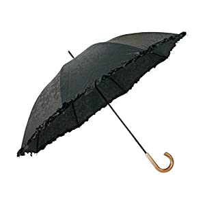 TANPOPO [晴雨兼用 ] UV加工 50cm 長傘 フリル (ブラック) 53234