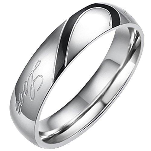 Flongo 日本サイズ ステンレス ペア リング 指輪 メンズ Love & ハート モチーフ 刻印入 ブラック ゴールド シルバー(銀)