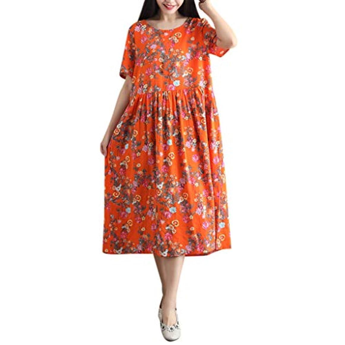 パーティー超えてレタスワンピース レディース Rexzo 花柄 可愛い 綿麻ワンピース 柔らかい ゆったり リネンワンピ 大きいサイズ 体型カバー ワンピース カジュアル おしゃれ スカート 人気 癒され系 ドレス 日常 お出かけ デート