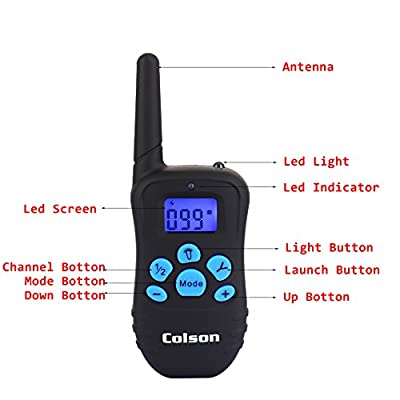 Colson Dog Training Collar Rechargeable and Rainproof 300 yd Remote Dog Shock Collar with Beep, Vibra and Shock Electronic Collar Anti Bark Spray Control Stop Barking Pet