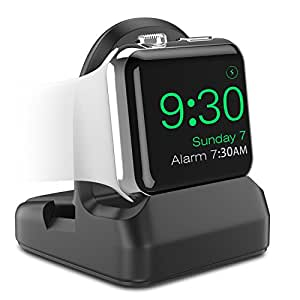 Apple Watch Series 4/3/2/1 スタンド - ATiC アップルウォッチ [42mm&44mm,38mm&40mm] に対応 シリコン製 TPU充電スタンド/充電クレードルドック/チャージャースタンド BLACK