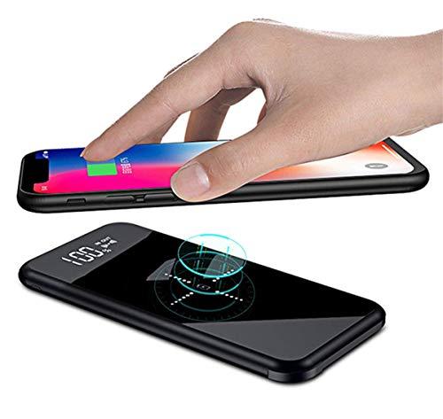 モバイルバッテリー 軽量 大容量 12000mAh Qi 無線充電器 薄型 iphone 携帯バッテリー ワイヤレス おしゃれ...
