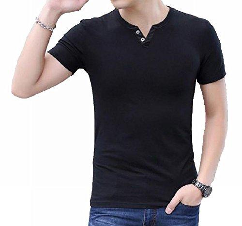 (ナンディン) nandin おしゃれ Tシャツ Vネック 半袖 トップス シンプル 無地 ティー シャツ お洒落 大きい おおきい サイズ ボタン ヘンリー ネック メンズ (10. 黒 3XL)