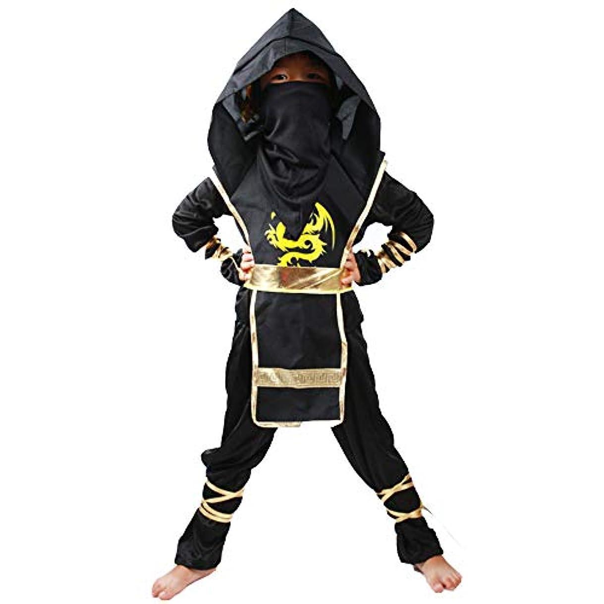 反射情熱繊細男爵忍者ドラゴンカンフーコスチューム子供忍者戦士のコスチューム(黒、S)