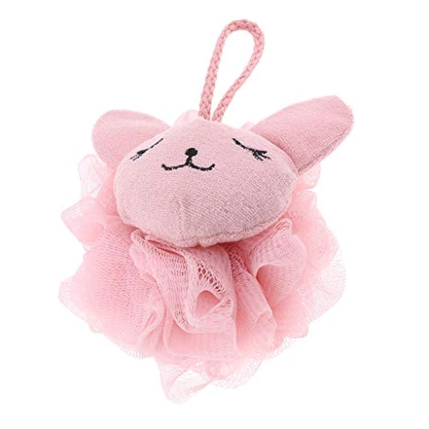 命令ビバ小石CUTICATE シャワーボール ボディスポンジ 漫画 動物 お風呂 バスグッズ 体洗い 柔らか 快適 全2色 - ピンク