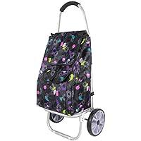 ZB ショッピングカート折りたたみポータブル、ショッピングカート、ホイールバッグ取り外し可能な荷物用品トロリー44x34x101cm ABC (色 : Purple)