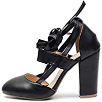 Cute Round Head Shoes Comfortable Thick with Sandals Wedding Shoes (Color : Black, Size : 37)