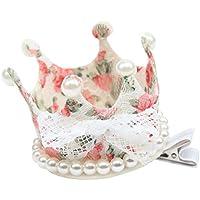 (ラボーグ) La Vogue ヘアピン ヘアクリップ ヘアアクセサリー 子供用 髪飾り 王冠クリップ ベビー 女の子 キッズ パーティー お姫様 誕生日 記念日 花色