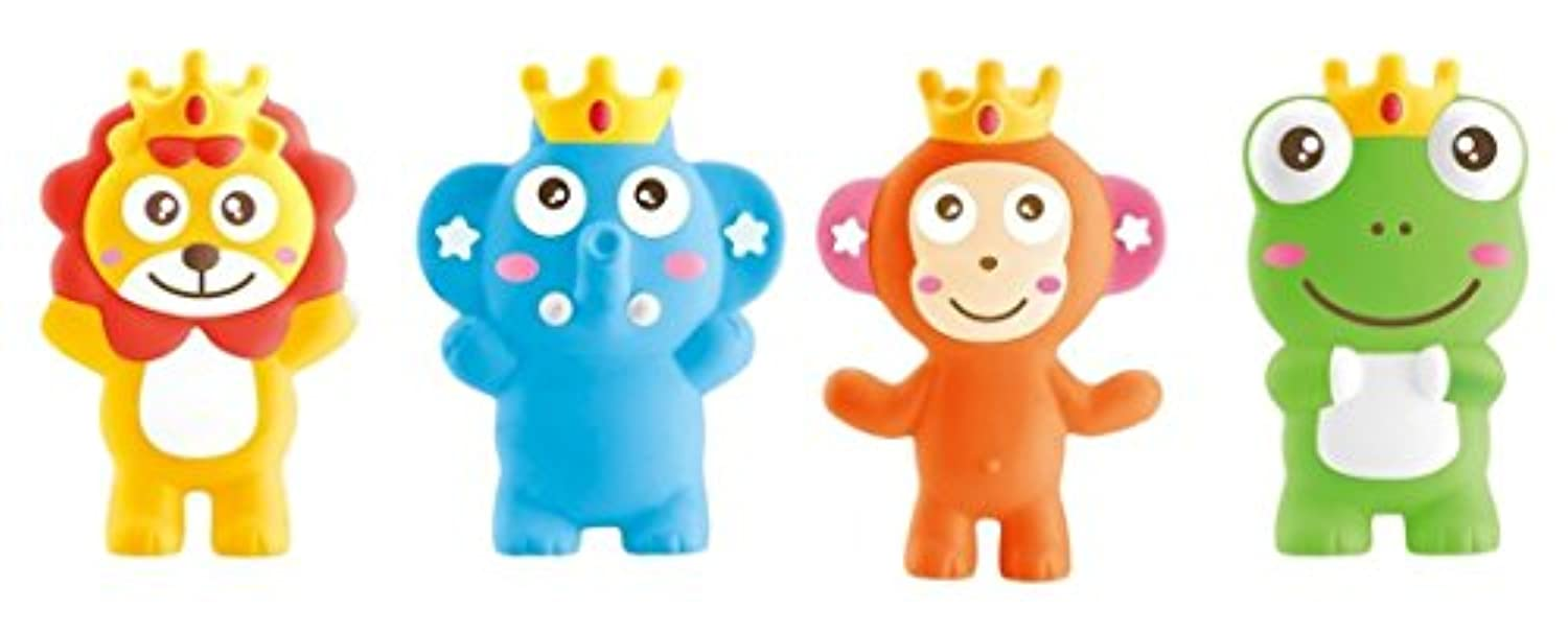 Little Treasuress Teether Toy 3-in-1 Squeeze Whistle Bath Toy Includes 4 Individual Characters [並行輸入品]