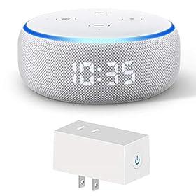 Newモデル Echo Dot (エコードット)第3世代 - スマートスピーカー時計付き with Alexa、サンドストーン + HYSIRY WiFi スマートプラグ JP1