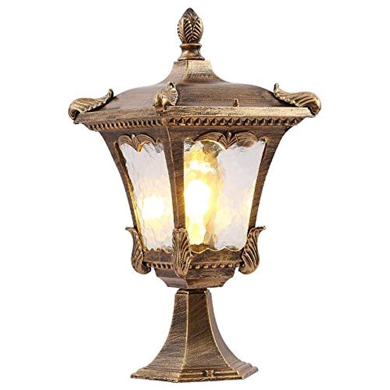 みがきますビリー彼女はPinjeer E27レトロアンティーク屋外ガラスランタンガーデン美化列ランプIP42防水ヴィンテージヨーロッパ金属アルミポストライトコミュニティ芝生ドア中庭装飾的な柱ライト (Color : Brass, サイズ : Height 48cm)