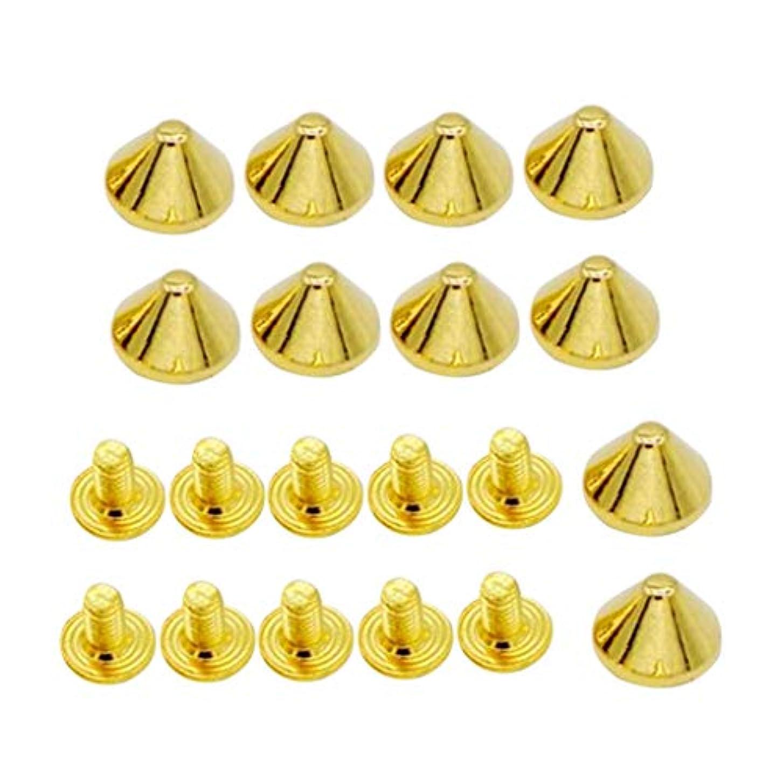 愚かな外交くぼみ円錐形 ラピッド リベット 合金 靴、帽子 飾り パンク 10個 全3色 - ゴールデン