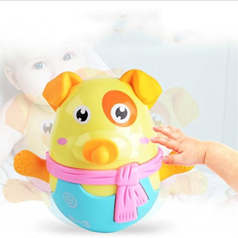 Keaner新生児幼児Roly - Polyおもちゃ環境にやさしい犬Teether幼児用タンブラー建物ブロック教育玩具子供用祭ギフト(ランダムカラー)