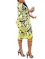 Candiyer 女性3 / 4スリーブスタイル非対称ヘムコンフォートワンショルダードレス Yellow M