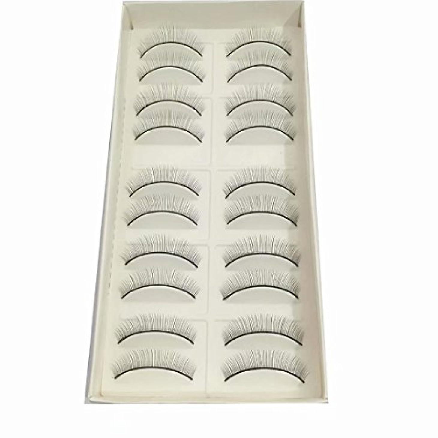 グレー十分に掃く練習用つけまつげ トレーニング用睫毛 真ん中から両端に段々短くなる(真ん中だけ8mm) 10ペア入り