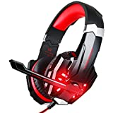BlueFire 3.5mm Gaming Headset for PlayStation 4 PS4 Xbox One Games Tablet PC, Over Ear Headphone with Microphone LED Light for Laptop Mac Nintendo Switch Controller (Red)