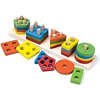oumoda木製ジオメトリ形状幼児用幾何ソートボードブロック、木製玩具、教育Preschool形状色認識スタックソートChunkyパズルToys for Kids