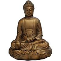 Buddha Statue on Lotusベース、ブロンズ仕上げ、地球Touchingポーズ、11.5 inches tall