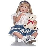 MaiDe 70 cm 実物に似ているリアルなソフトシリコン幼児用女の子の人形 生まれ変わりベビー人形 ブロンド ロングヘア レディース ガールズ ギフト