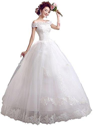 オフショルダー ウエディングドレス レースアップ Aライン 純白 花嫁衣装 (S) [並行輸入品]