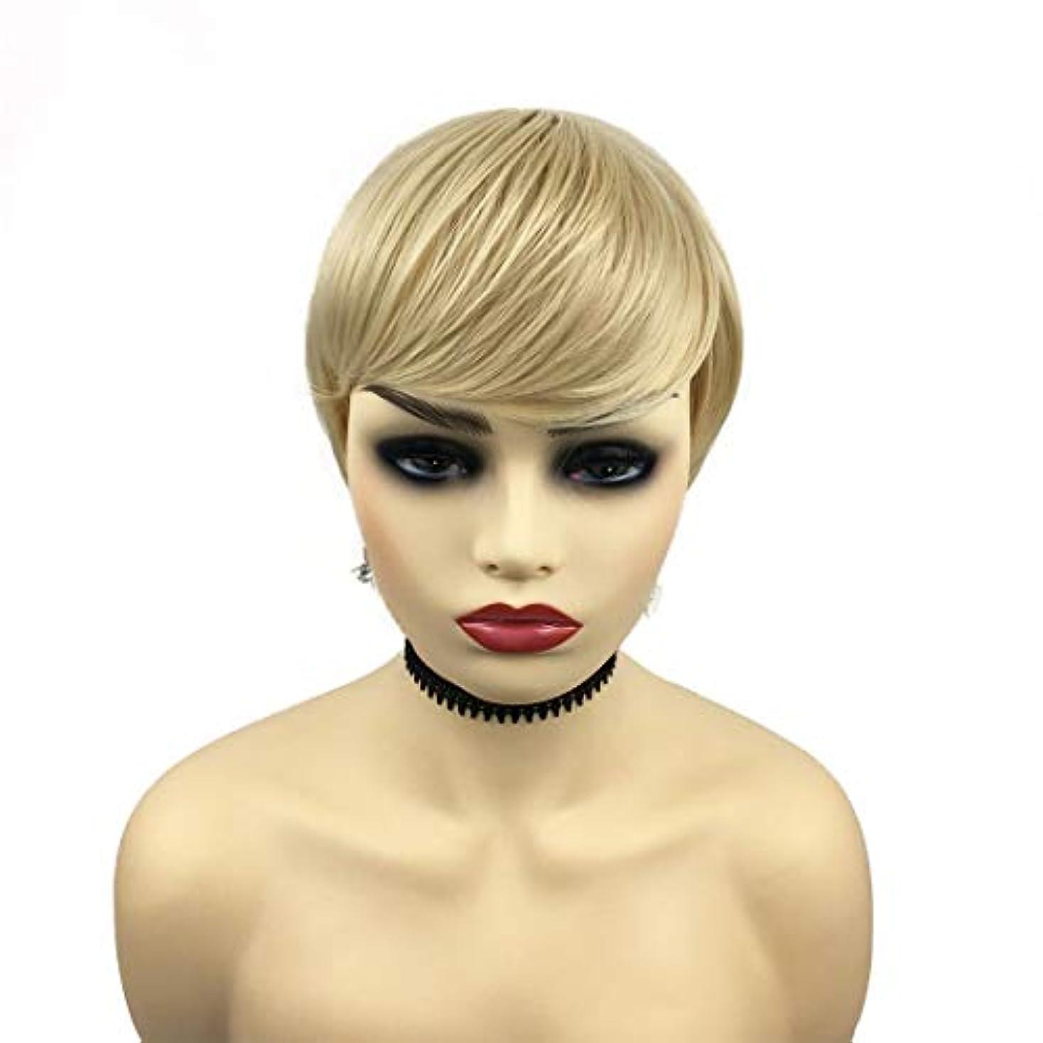 傭兵量で学校YOUQIU 女性の耐熱ウィッグナチュラルヘアウィッグのための金髪ショート傾斜部髪ストレート天然、合成ストレートウィッグ (色 : Blonde)