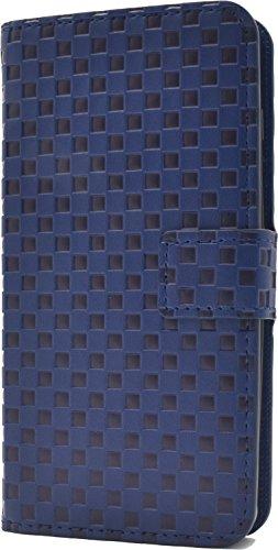 PLATA Y!mobile Android One S2 / SoftBank DIGNO G ( 601KC & 602KC ) ケース 手帳型 市松模様 チェック ブロック デザイン スタンド ポーチ 【 ブルー アオ あお 青 blue ぶるー 】 YAOS2-62BL