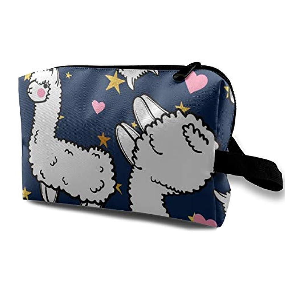 賞賛地震請求書Cute Alpacas Pink Heart 収納ポーチ 化粧ポーチ 大容量 軽量 耐久性 ハンドル付持ち運び便利。入れ 自宅・出張・旅行・アウトドア撮影などに対応。メンズ レディース トラベルグッズ