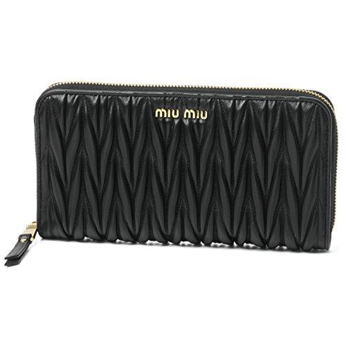 (ミュウ ミュウ) MIU MIU ラウンドファスナー長財布 MATELASSE ブラック 5ML506 N88 F0002 [並行輸入品]