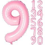 Angel&tribe 数字型風船 101.6cm/40インチ ナンバー 0~9 ティファニーピンク 誕生日パーティー飾り付け ヘリウムガス対応 ホイル マイラーバルーン 数字9 ティファニーピンク