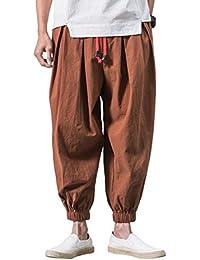 FOMANSH メンズ サルエルパンツ ガウチョパンツ M-5XL 無地 ポケット付き 大きいサイズ カジュアル ワイドパンツ ハーフパンツゆったり ロングパンツ 夏 春 秋