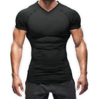 SASUKE サスケ 加圧シャツ ダイエットシャツ 半袖シャツ 速乾加圧インナー Vネック (黒, M)