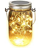 MQ Solar Mason Jar String Lights (Mason Jar & Handle Included) - 10 LED Lights Jar Waterproof Hanging & Path Light Garden Outdoor Solar Lantern & Table Lantern (Warm White)