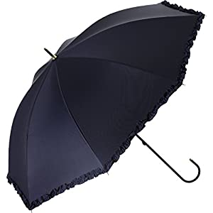 プラスニコ 長傘 手開き 日傘/晴雨兼用傘 ネイビー 遮光 フリル スレンダー 全3色 8本骨 47cm UVカット 99.9% 以上 21212