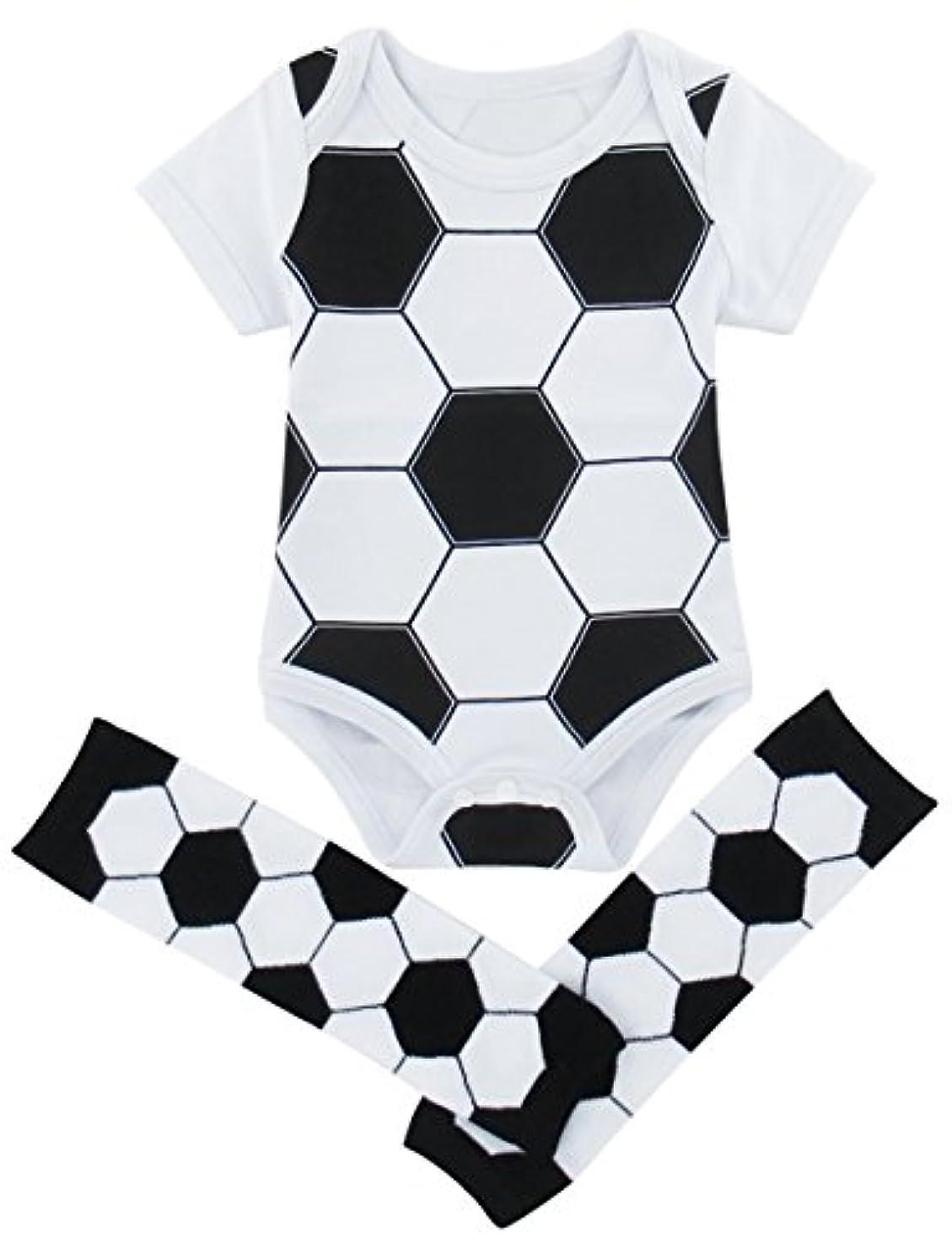 蓋訴える継承BECOS ベビー ロンパース コスチューム 新生児 綿100 サッカー レッグウォーマー(サッカー, 0-3ヶ月)