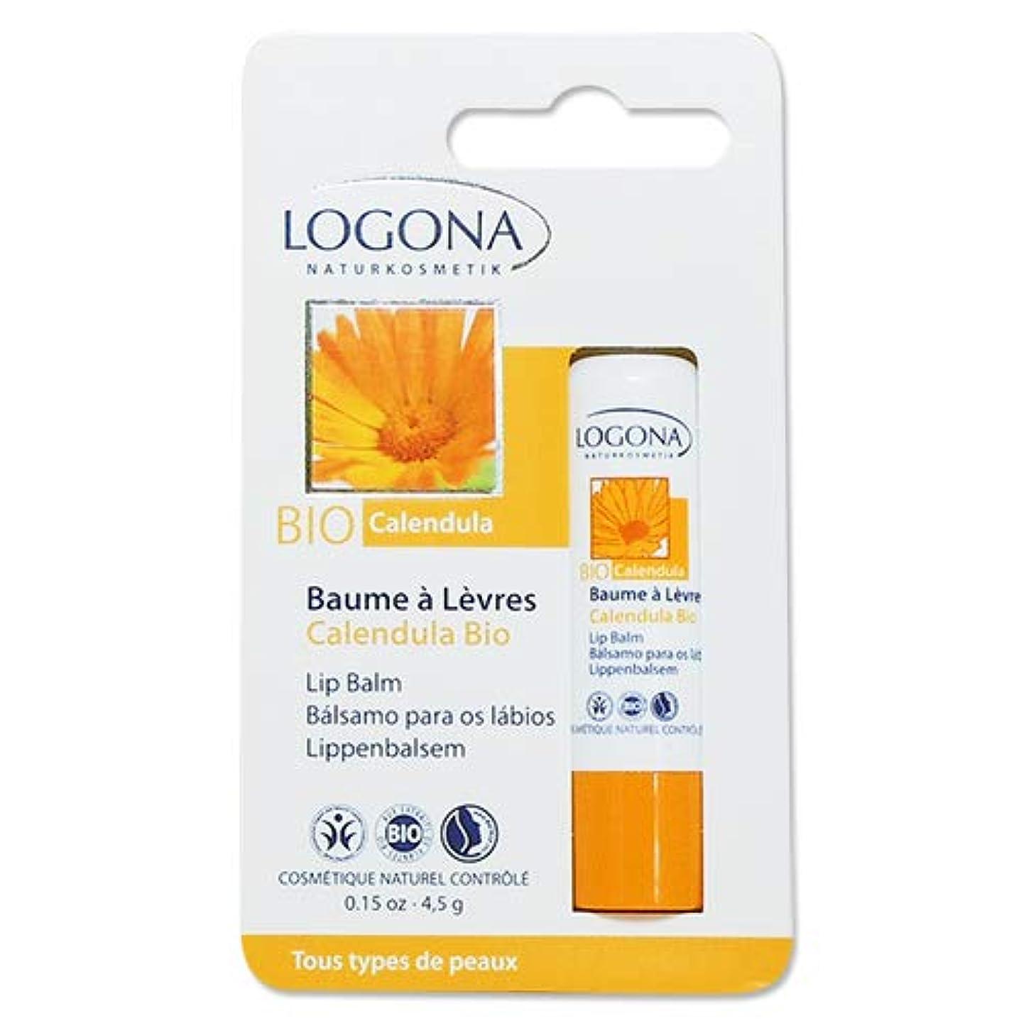 サドル用心深い葉を集める3個セット ロゴナ(LOGONA) キャレンデュラ リップクリーム 4.5g[海外直送品]