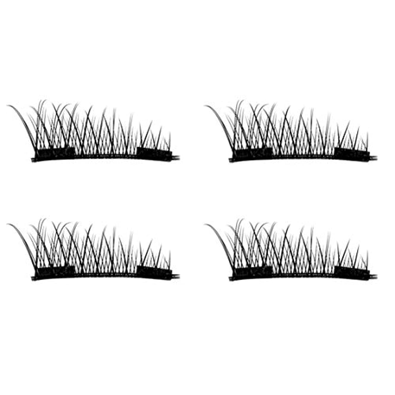 ヒョウ皿植物学4PCS / 2ペアナチュラルシックアイまつ毛のりのない3D磁気女性アイメイク美容シックロングつけまつげ