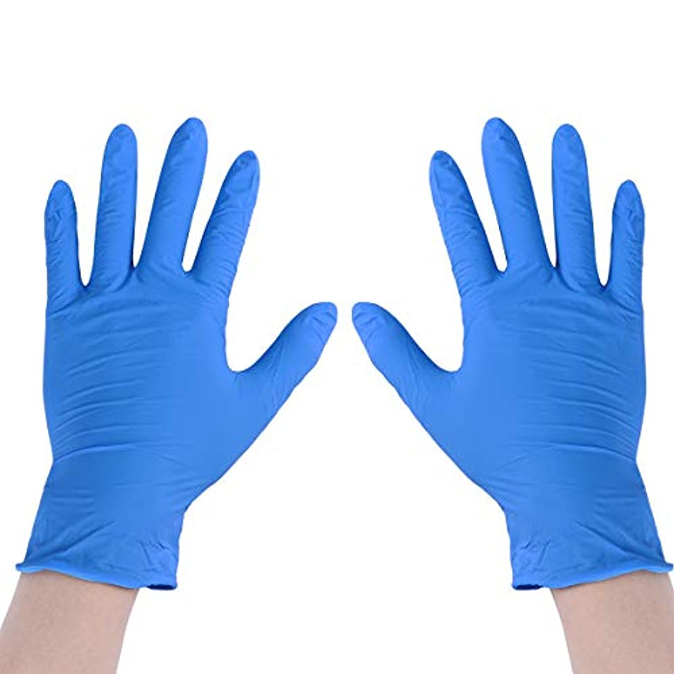 推定する認可心理的SUPVOX 100個9インチ使い捨てニトリル手袋食品用手袋ゴム手袋サイズM(ブルー)