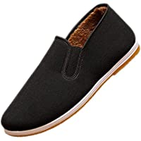 XFentech Mens Low Top Espadrilles Shoes - Warm Old Beijing Cloth Loafers Shoes Casual Fur Lined Anti-Slip Sneakers