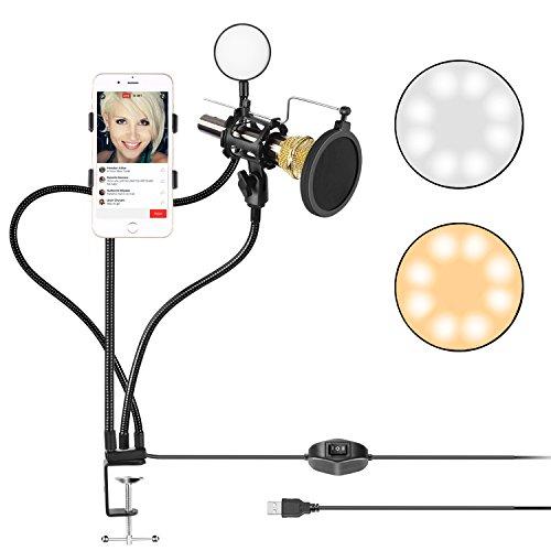 Neewer クランプ式生放送用USB LED 自撮り用リングライト 携帯用ホルダーとマイク用ホルダー付き Youtube ビデオに対応 二つライトモード 360度自由に回転できるアーム iPhone Samsung用「マイクと電話なし」
