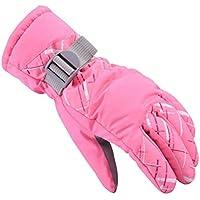 大人用アウトドアグローブ冬暖かく厚くなるスキーライディンググローブ、ピンク