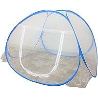 蚊帳 ベビー蚊帳 ワンタッチ折り畳み式 持ち運びに便利 底付き テントタイプ 片側開閉 ベビーベッドに収まるサイズ アウトドアにも (白)