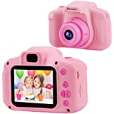 DROGRACE Kids Camera Children Digital Cameras for Girls Birthday Toy Gifts 4-12 Year Old Kid Action Camera Toddler Video Recorder 1080P IPS 2 Inch